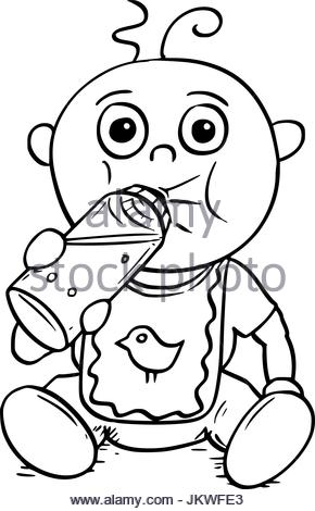 290x470 Simple Black And White Baby Bottle Cartoon Stock Vector Art