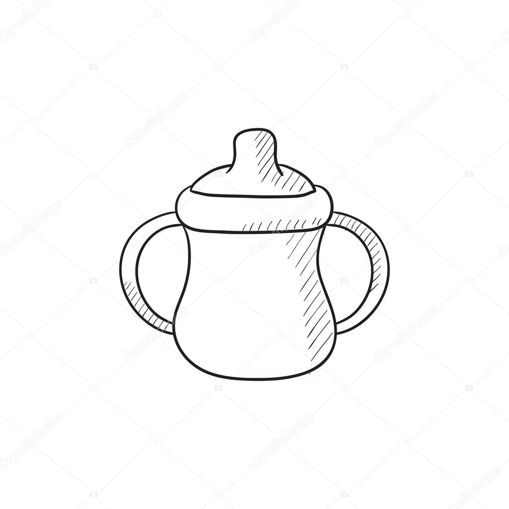 1024x1024 Baby Bottle With Handles Sketch Icon. Stock Vector Rastudio