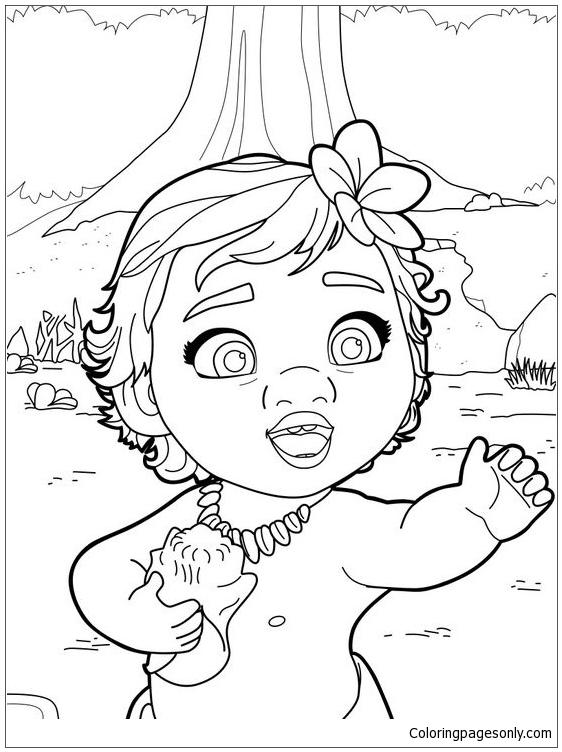 562x752 Baby Moana Princess Coloring Page