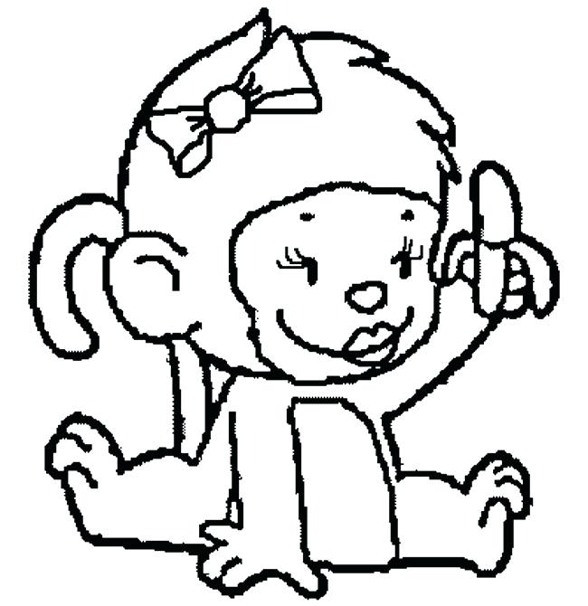 650x670 Coloring Pages Cute Monkeys A Baby Monkey Sitting Page Of We Are
