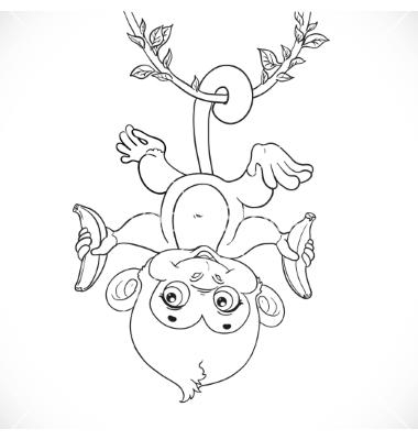 380x400 Cute Baby Monkey With Banana Hanging On The Liana Vector Kay