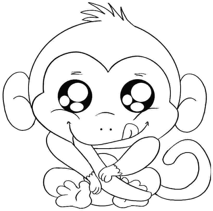818x810 Monkey Color Pages Cartoon Baby Monkey Coloring Pages Enjoy