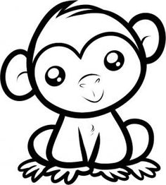 236x262 Monkey Eating Drawing Monkey, Step By Step, Forest Animals