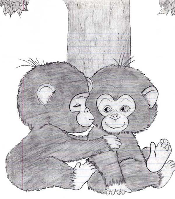 600x684 Baby Monkeys By Aneko