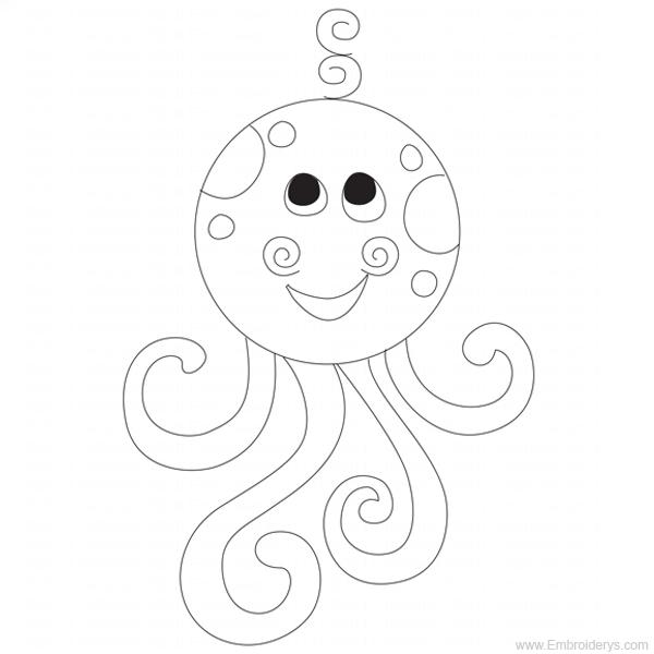 600x600 Baby Octopus Applique
