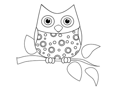 500x386 printable baby owl coloring pages coloring - Coloring Pages Owls