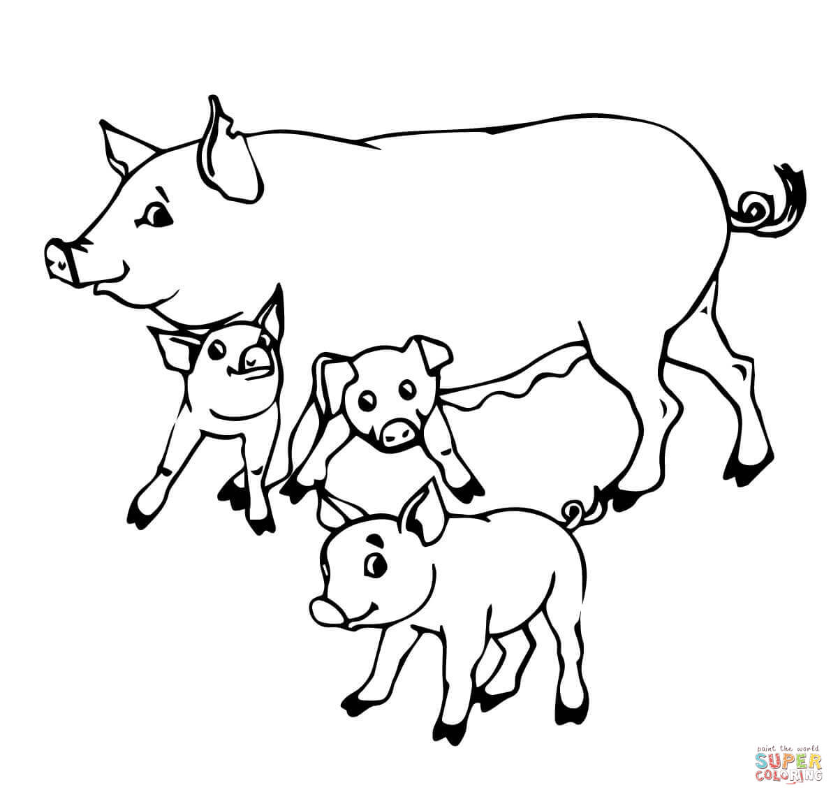 1200x1144 Pig Mother And Baby Pigs Coloring Page Free Printable Coloring Pages