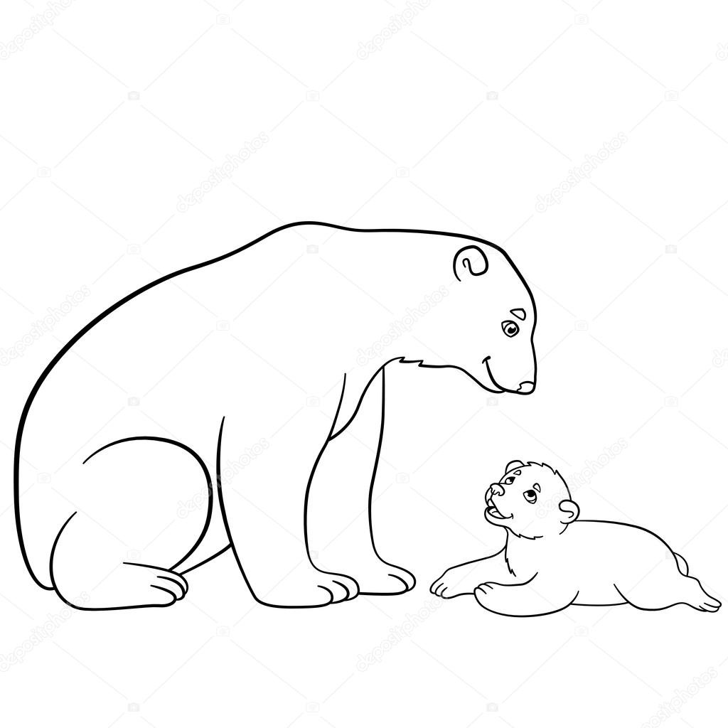 1024x1024 Coloring Pages. Mother Polar Bear With Her Baby. Stock Vector