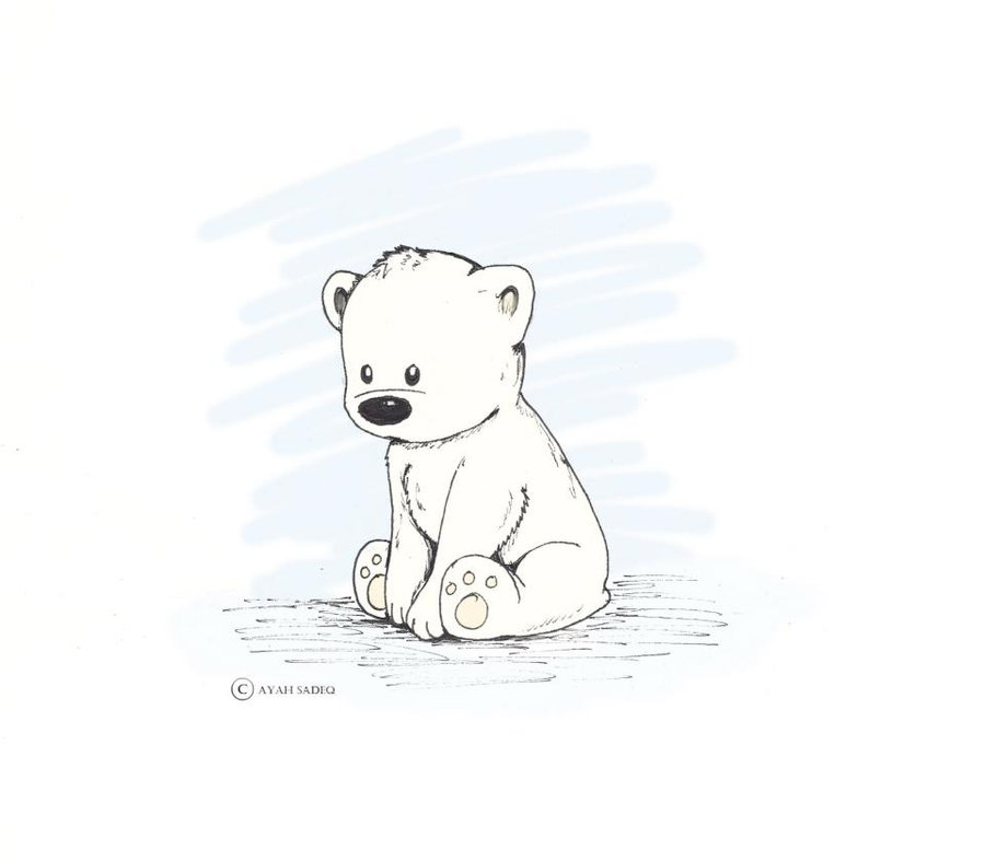 900x787 Drawn Polar Bear Cute