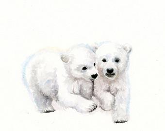 340x270 Nursery Baby Bear Art Print Polar Bear And Cubs Baby