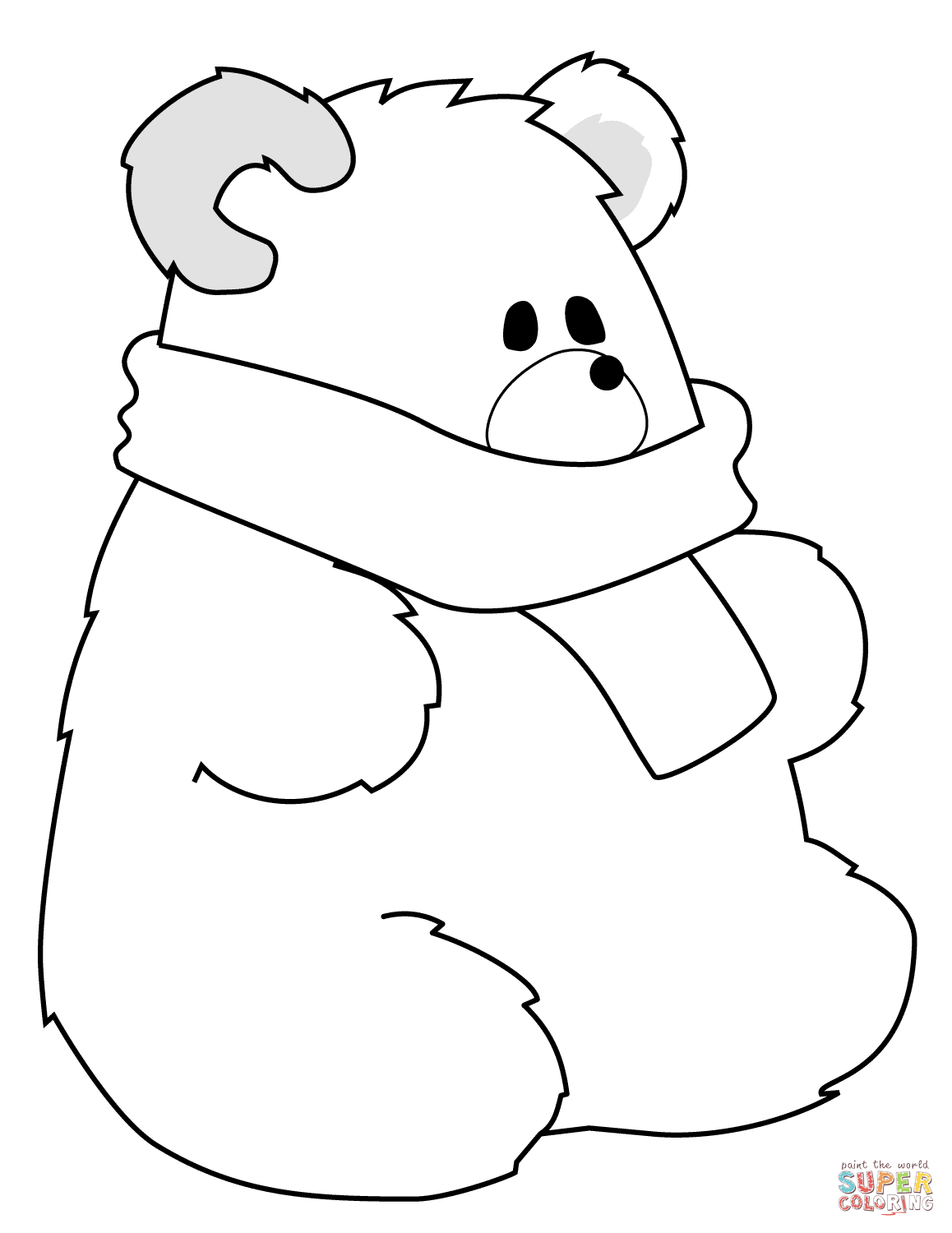 1158x1500 Polar Bear With Scarf Coloring Page Free Printable Coloring Pages