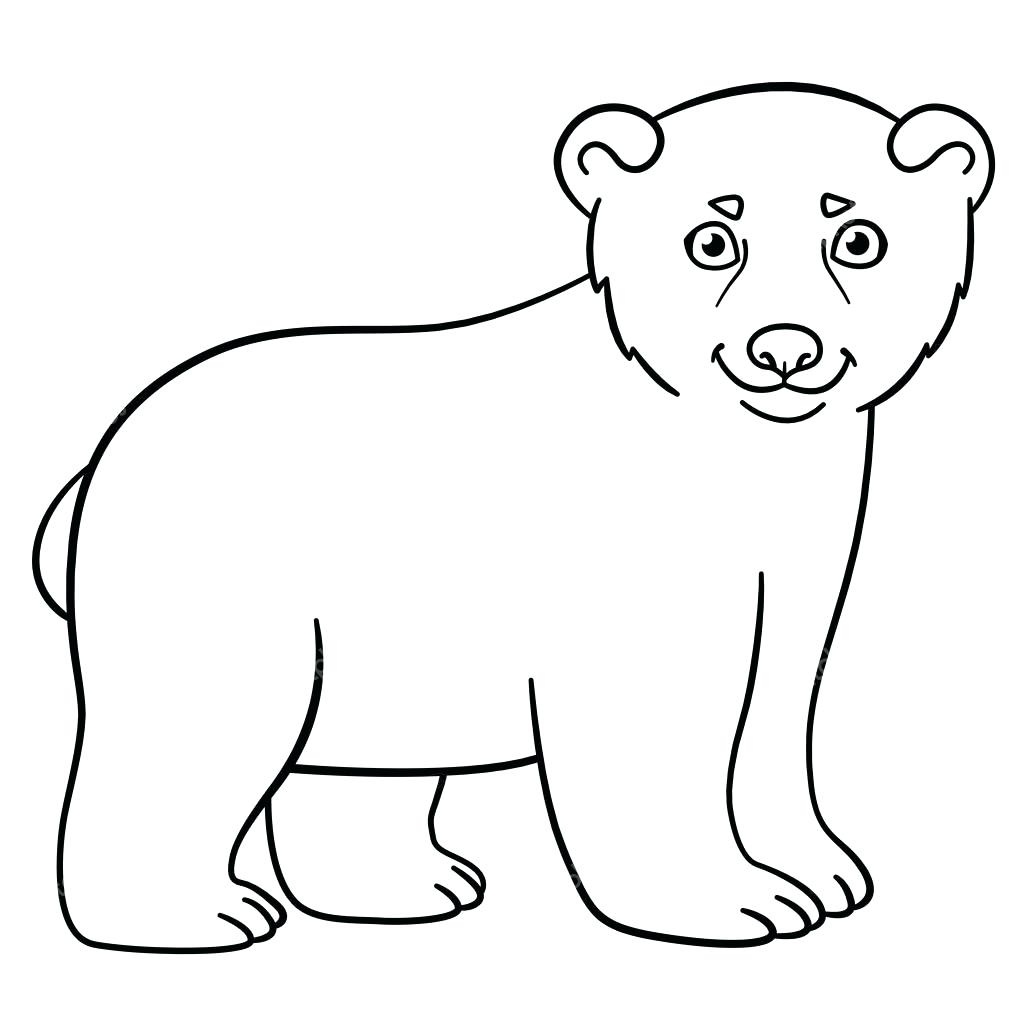 1024x1024 Coloring Baby Polar Bear Coloring Pages Little Cute Smiles Vector