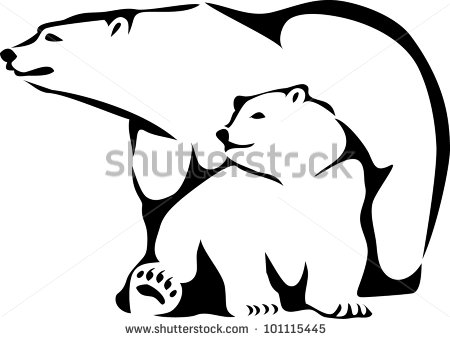 450x339 Picture Of Mothernd Her Baby Polar Bear Sitting Down In