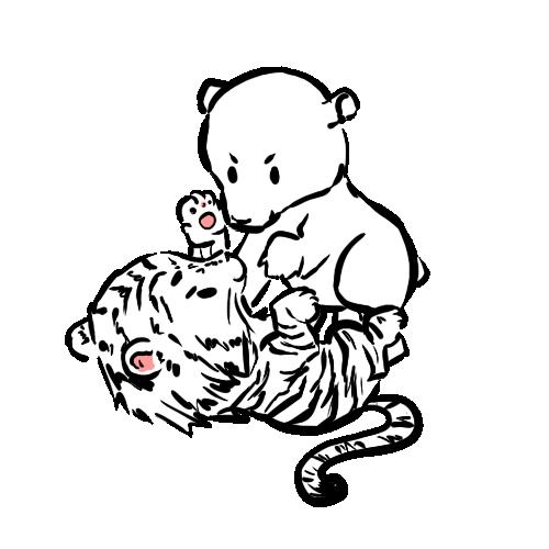 500x500 Baby Polar Bear And Baby Tiger By Marikots