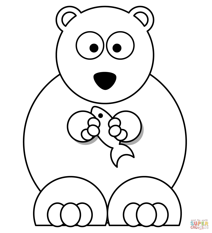 1361x1500 Cartoon Polar Bear With Fish Coloring Page Free Printable