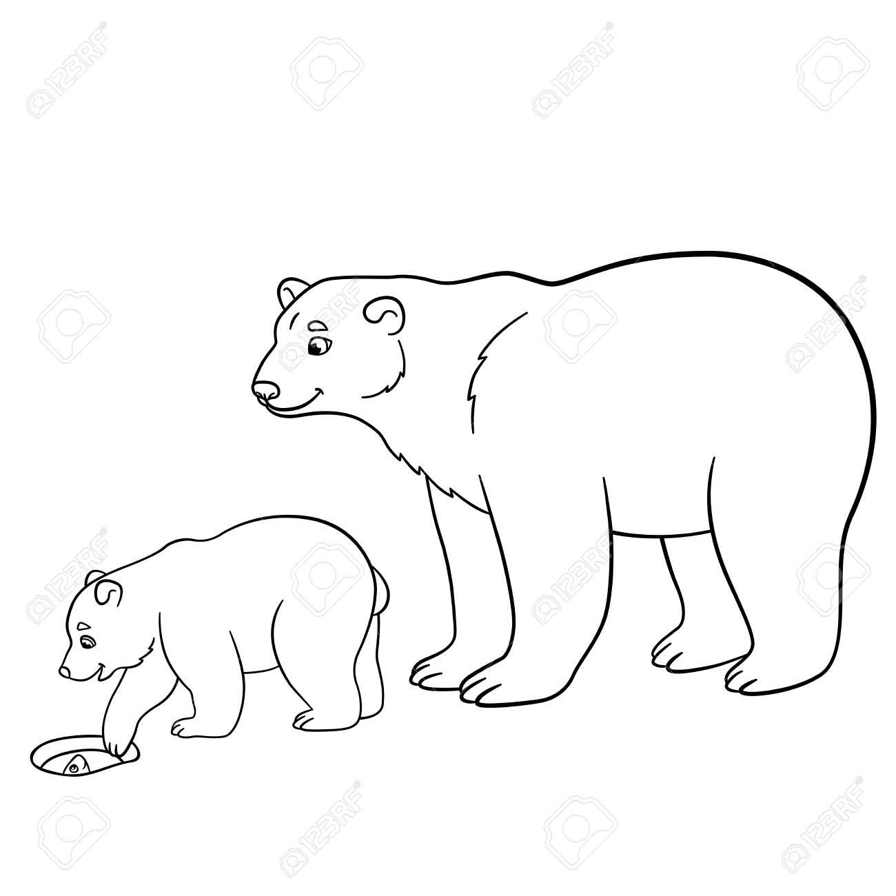 1300x1300 Coloring Pages. Mother Polar Bear With Her Little Cute Baby
