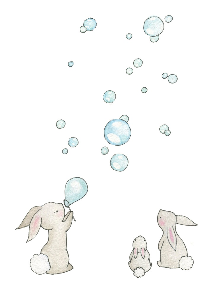 736x1000 Childrens Nursery 10 X 8 Fine Art Giclee Print, Bunnies Amp Bubbles