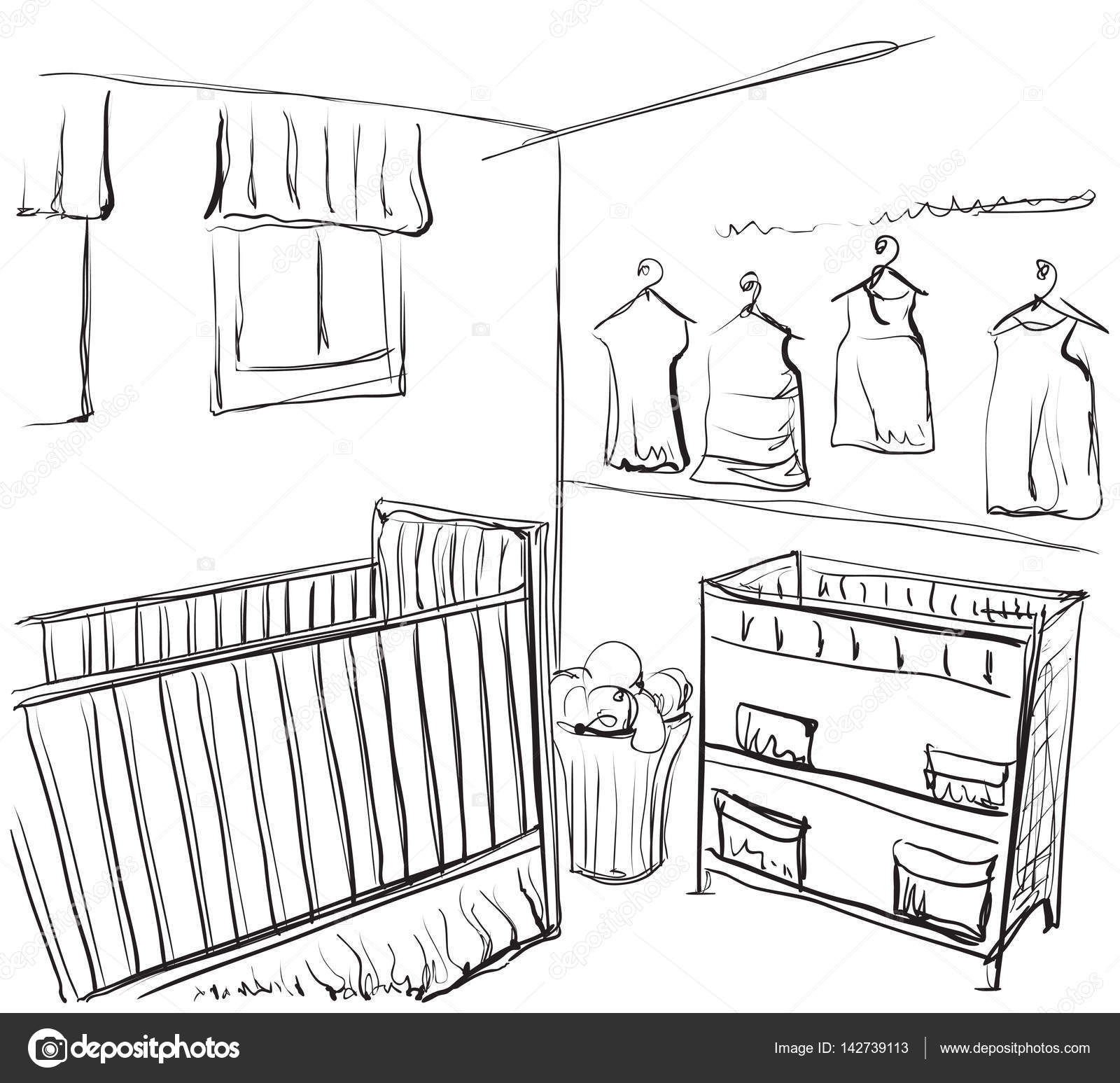 1600x1547 Drawn Children Room. Furniture Sketch. Baby Bed Stock Vector