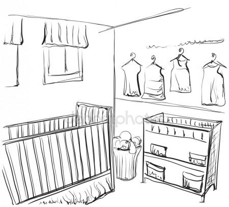 450x406 Hand Drawn Baby Room Design Element Coloring Book Page Vector