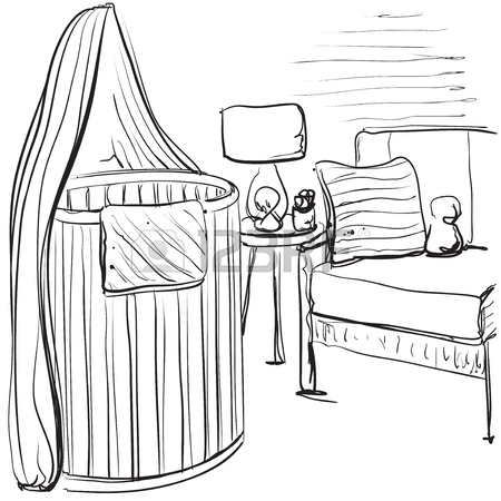 450x450 Hand Drawn Children Room. Baby Bed Sketching Royalty Free Cliparts