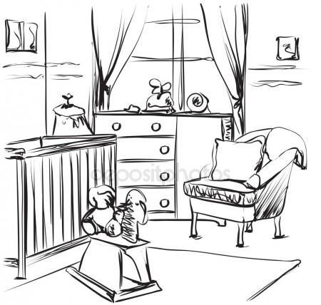 450x428 Hand Drawn Children Room. Baby Bed Sketching Stock Vector