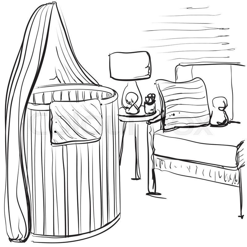 800x800 Hand Drawn Children Room. Furniture Sketch. Baby Bed Stock