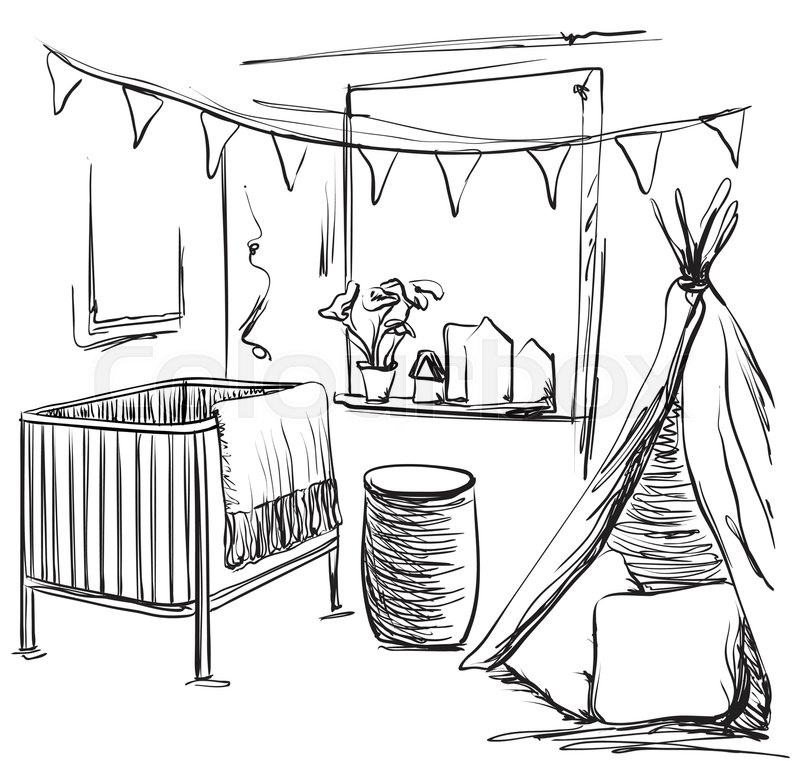 800x761 Hand Drawn Children Room. Furniture Sketch. Baby Bed And Tent
