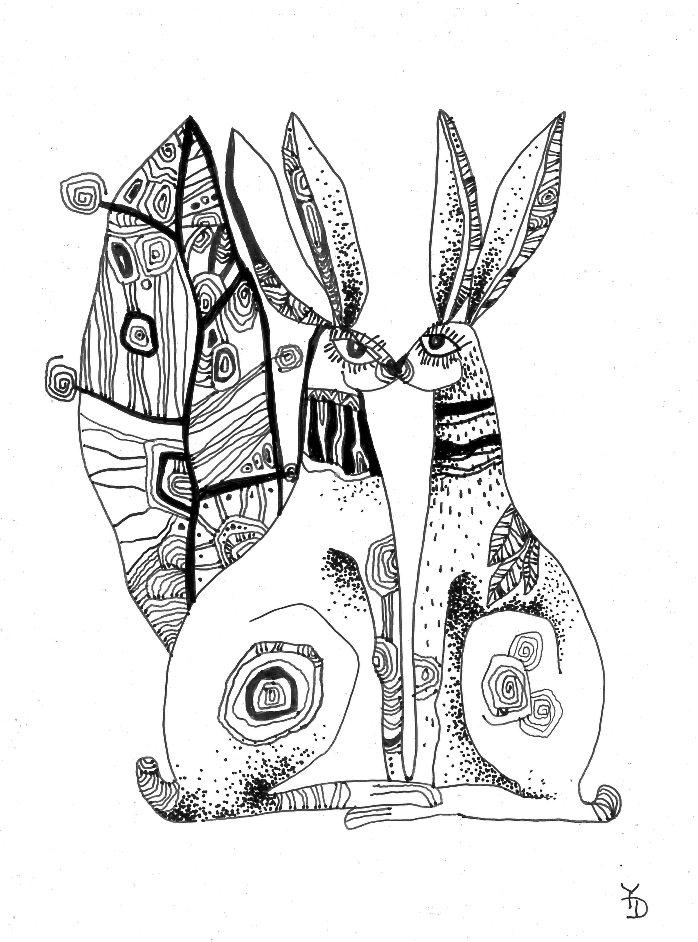 698x942 Dyuminart Artwork Original Ink Drawing 12x17