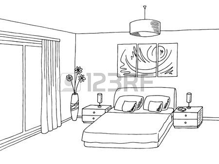 450x338 Baby Room Black White Interior Graphic Art Sketch Illustration