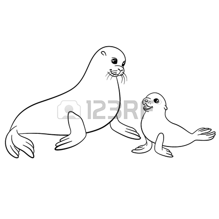 450x450 Coloring Pages. Mother Fur Seal With Her Little Cute Baby Seal