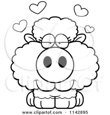 450x470 Cartoon Clipart Of A Black And White Cute Baby Sheep In Love