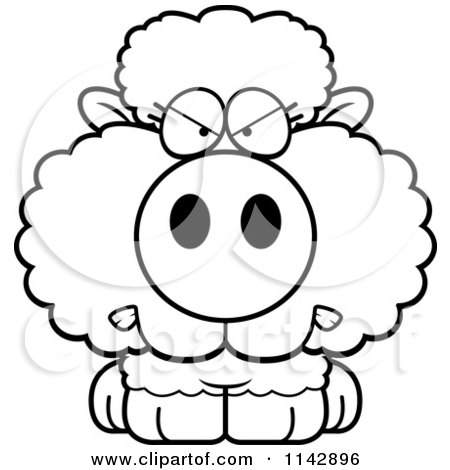 450x470 Cartoon Clipart Of A Black And White Mad Baby Sheep