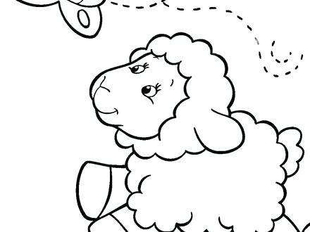 440x330 Sheep Coloring Page Baby Sheep Chasing Butterfly Coloring Pages