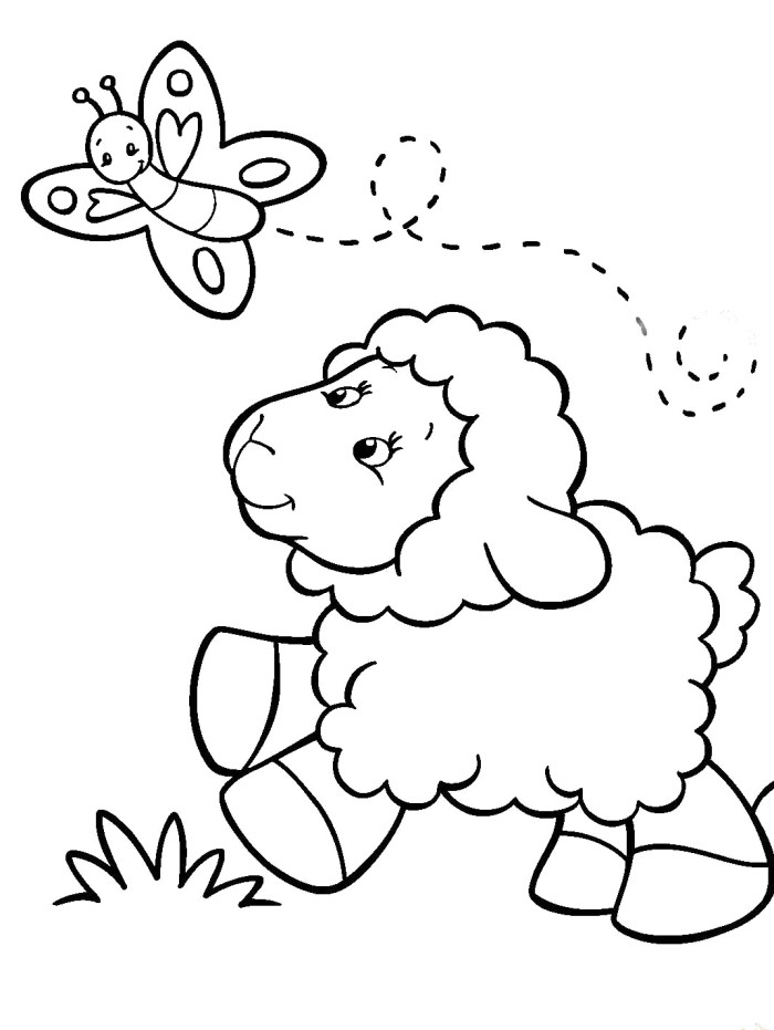700x931 Baby Sheep Coloring Pages