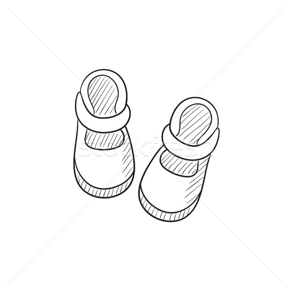 600x600 Baby Booties Sketch Icon. Vector Illustration Andrei Krauchuk