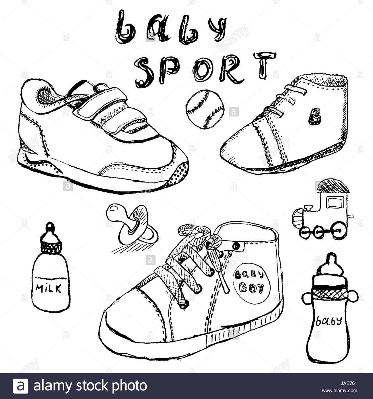 1300x1390 Baby Shoes Set Sketch Handdrawn Isolated On White Stock Vector Art