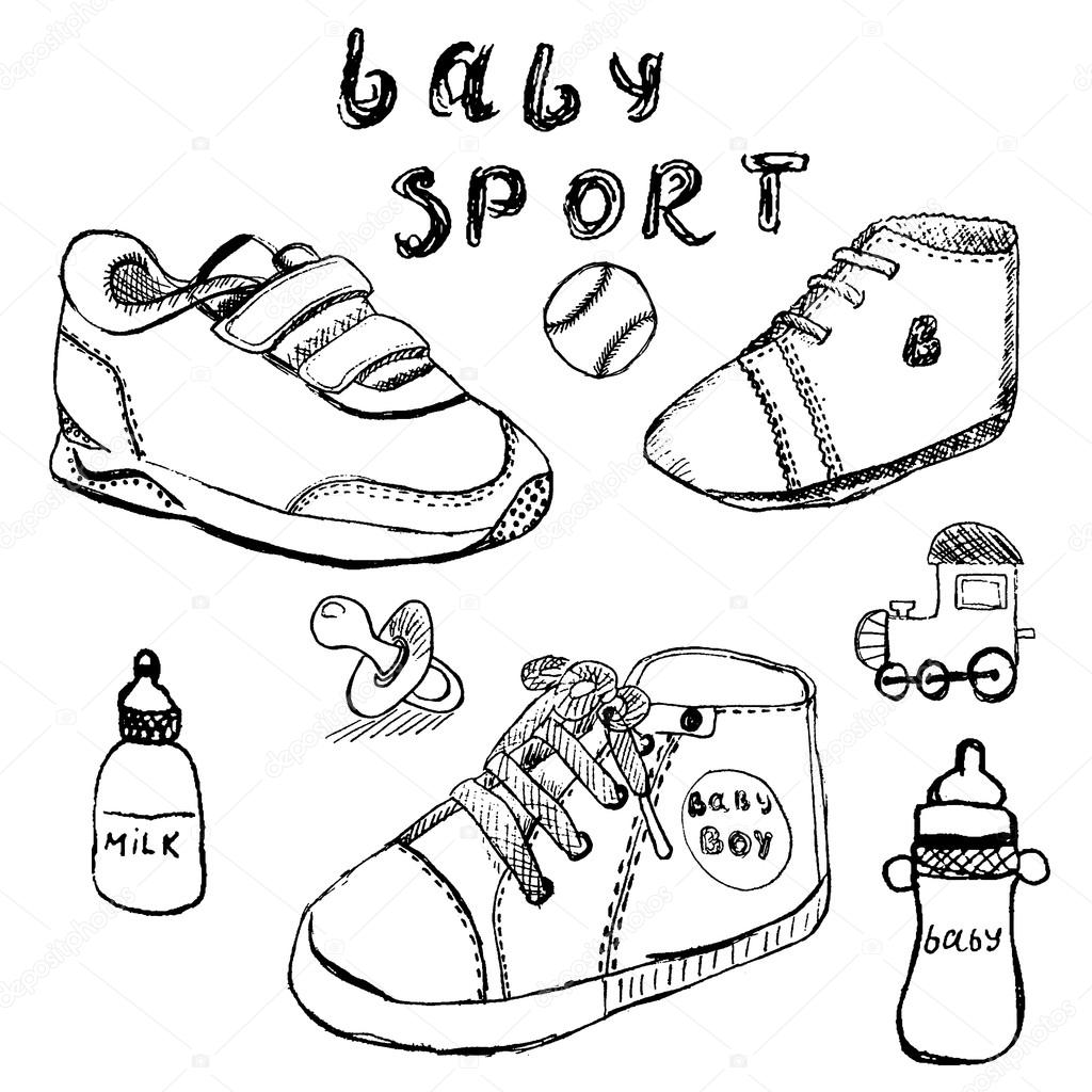 1024x1024 Baby Shoes Set Sketch Handdrawn Isolated On White Stock Vector