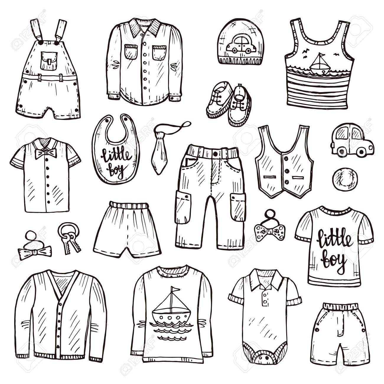 1300x1300 Set Of Cute Hand Drawn Clothes For Baby Boy Including Shirt
