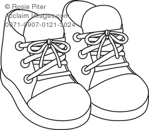 300x261 Art Illustration Of The Outline Of A Pair Of Baby Sneakers