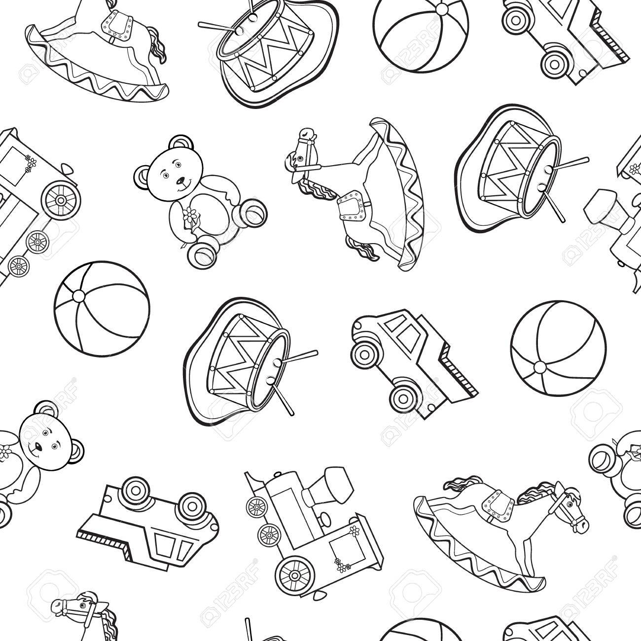 1300x1300 Baby Toy Drawings, Car, Bear, Horse, Ball, Train, Drum Isolated