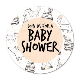 265x265 Cute Drawings Baby Shower Label Stickers