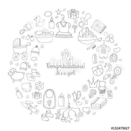 500x500 Set Of Hand Drawn Cute Baby Shower Icons. Kids Care Elements