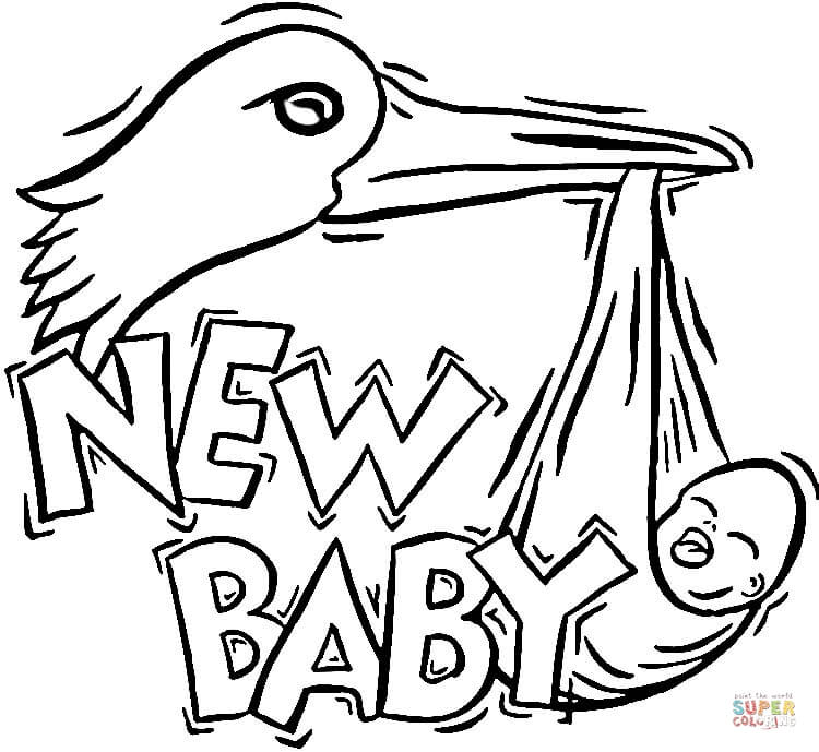 750x689 Stork Brings A New Baby Coloring Page Free Printable Pages