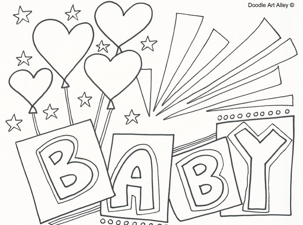 1035x768 Baby Shower Coloring Pages For Kids Throughout Free Fantastic Page