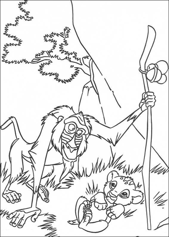 343x480 Rafiki And Baby Simba Coloring Page Free Printable Coloring Pages