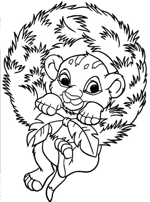 518x696 Baby Simba Wants To Celebrate The Christmas Coloring Pages
