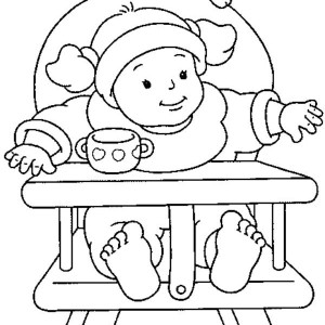 300x300 Baby Sitting On Mouse Pillow Coloring Page Coloring Sun
