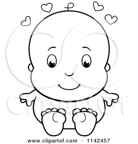 450x470 Cartoon Clipart Of A Black And White Cute Baby Sitting Naked