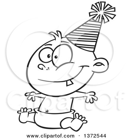 450x470 Cartoon Clipart Of A Black And White Happy New Year Baby Sitting