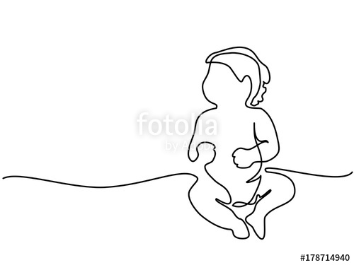 500x375 Continuous Line Drawing. Cute Baby Sitting On The White Background